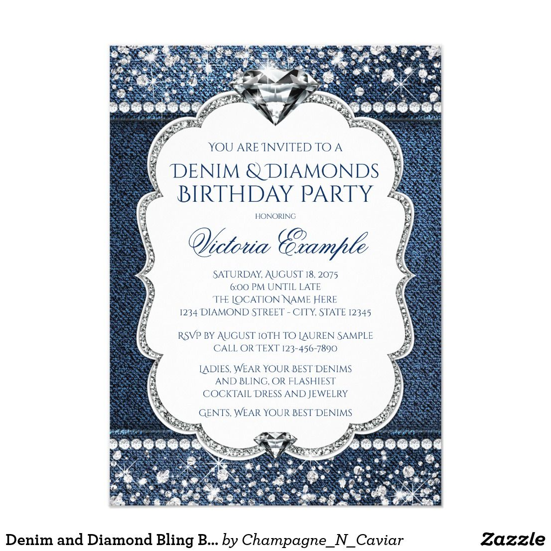 Denim and Diamond Bling Birthday Party Invitations | Invitations ...