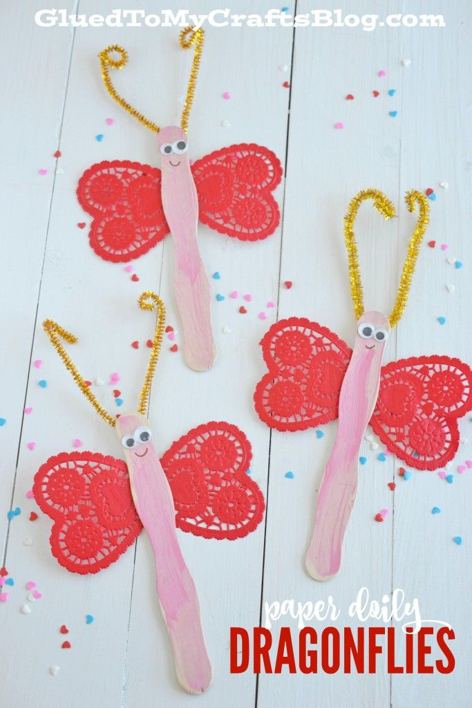 Paper Heart Doily Dragonflies - Kid Craft