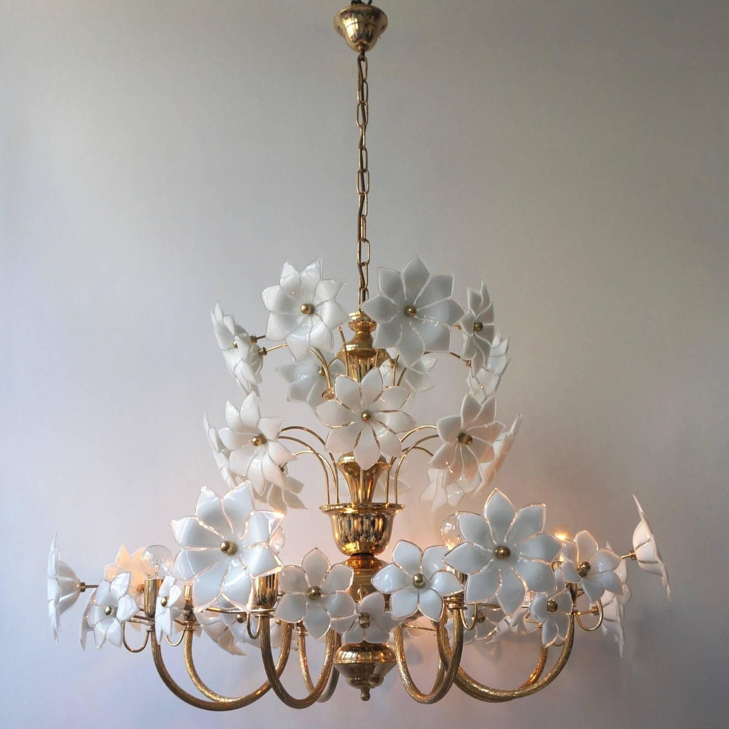 Huge Palwa Gilded Brass And Glass Flower Chandelier Flower