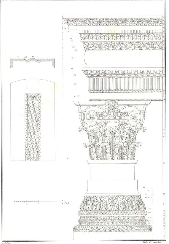 1842 Palladio Architectural Print, Baptistery of Constantine - copy capitol blueprint springfield illinois