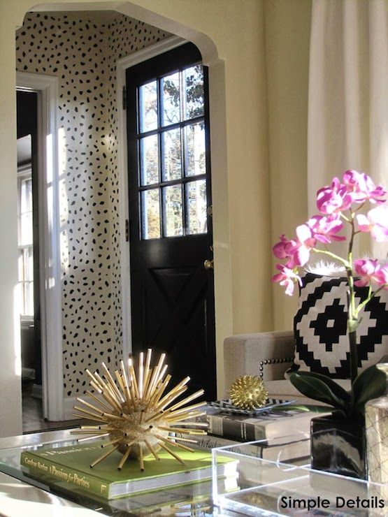 Simple Details Living Rooms Cheetah Spots Wall Stencil Gold Sea Urchin Decor Coffee Table Vignette Styling