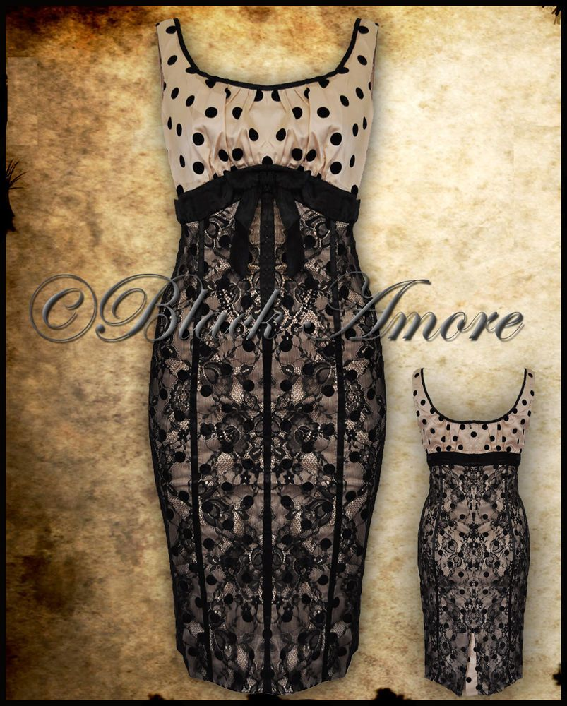 Pencil wiggle dress ivory cream polka dot lace vintage