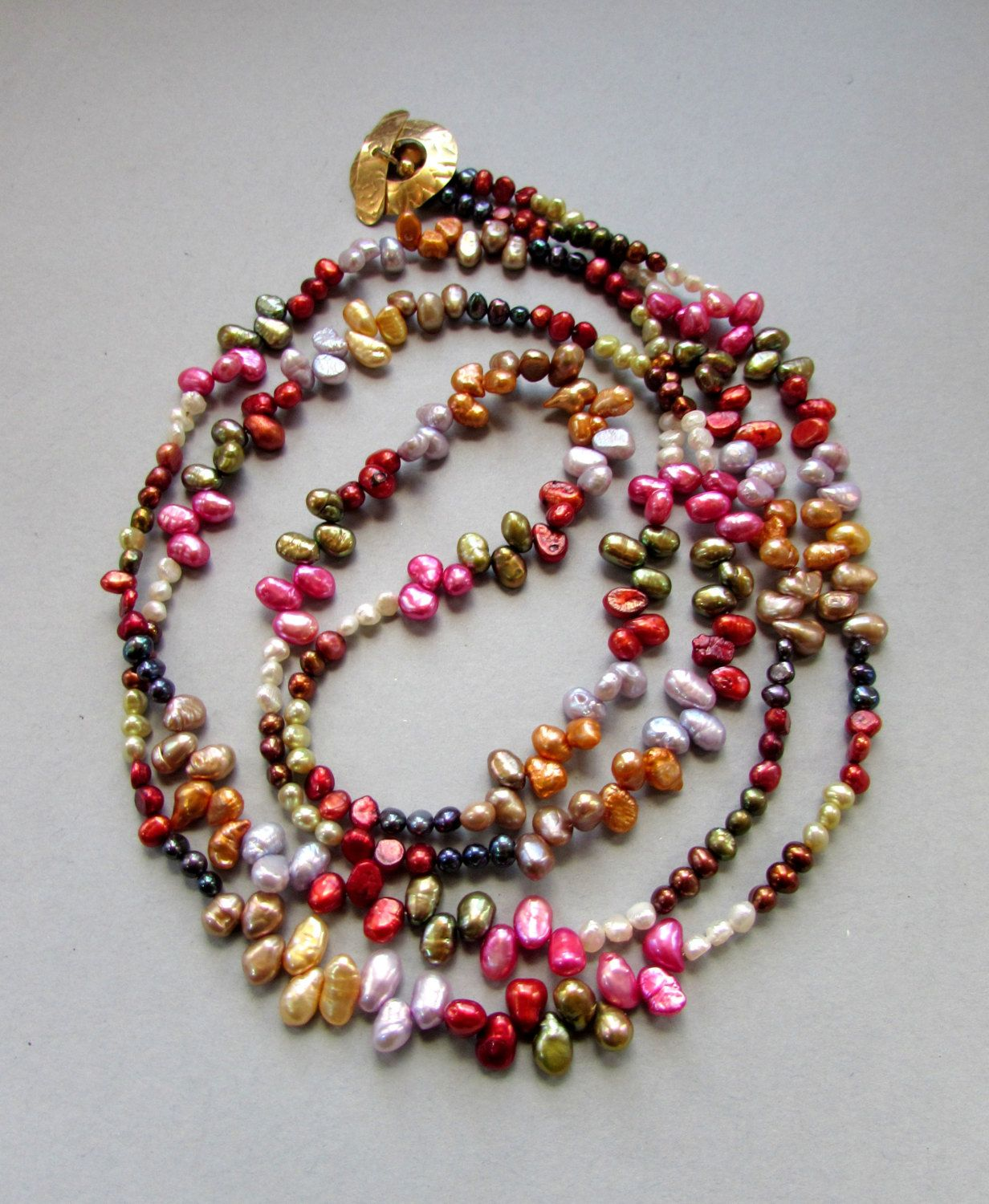 She Wore a Pearl Necklace - Extra Long Necklace of Multi-color Freshwater Pearls Boho, Gypsy, Hippie, Shabby Cottage Chic, Gift for Her by Chilirose on Etsy
