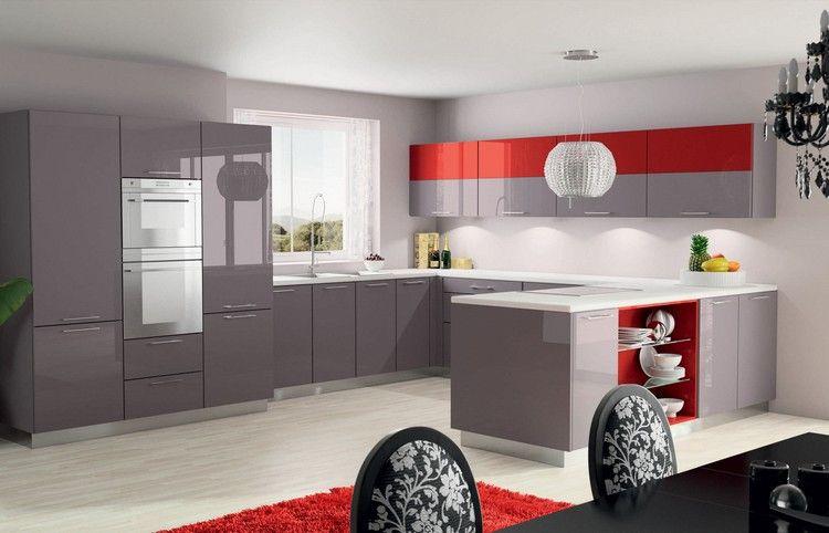 Couleur Pour Cuisine Idées De Peinture Murale Et Façade - Meuble cuisine laque rouge pour idees de deco de cuisine