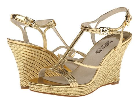 MICHAEL Michael Kors Cicely Wedge Gold Specchio - Zappos ...