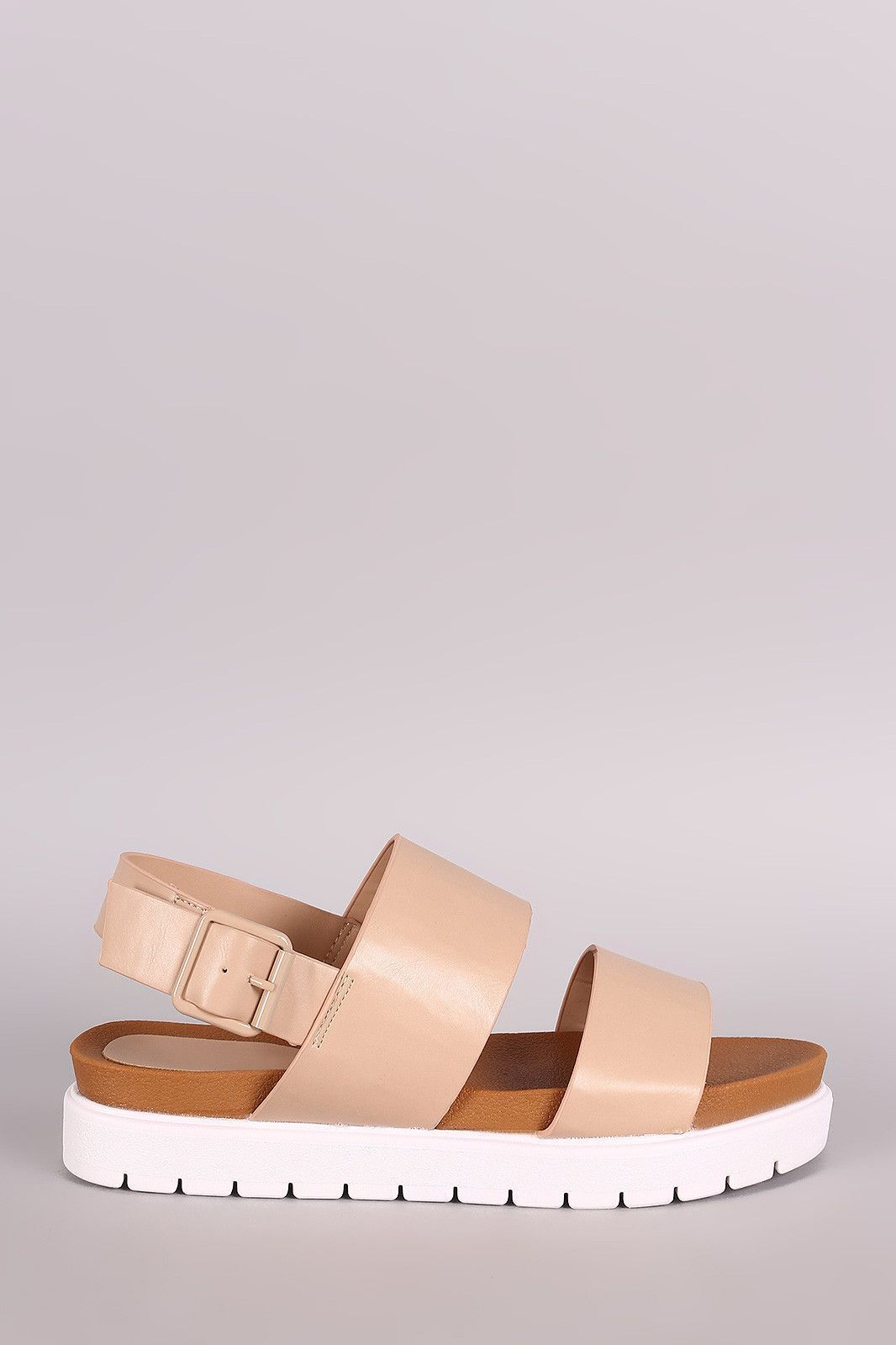 a3e31c569e9 Bamboo Vegan Leather Two Band Lug Sole Flatform Sandal