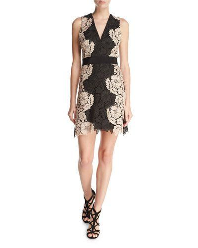 811ba8bdcaa TD7AQ Alice + Olivia Patrice Two-Tone Lace Cocktail Dress   Things ...