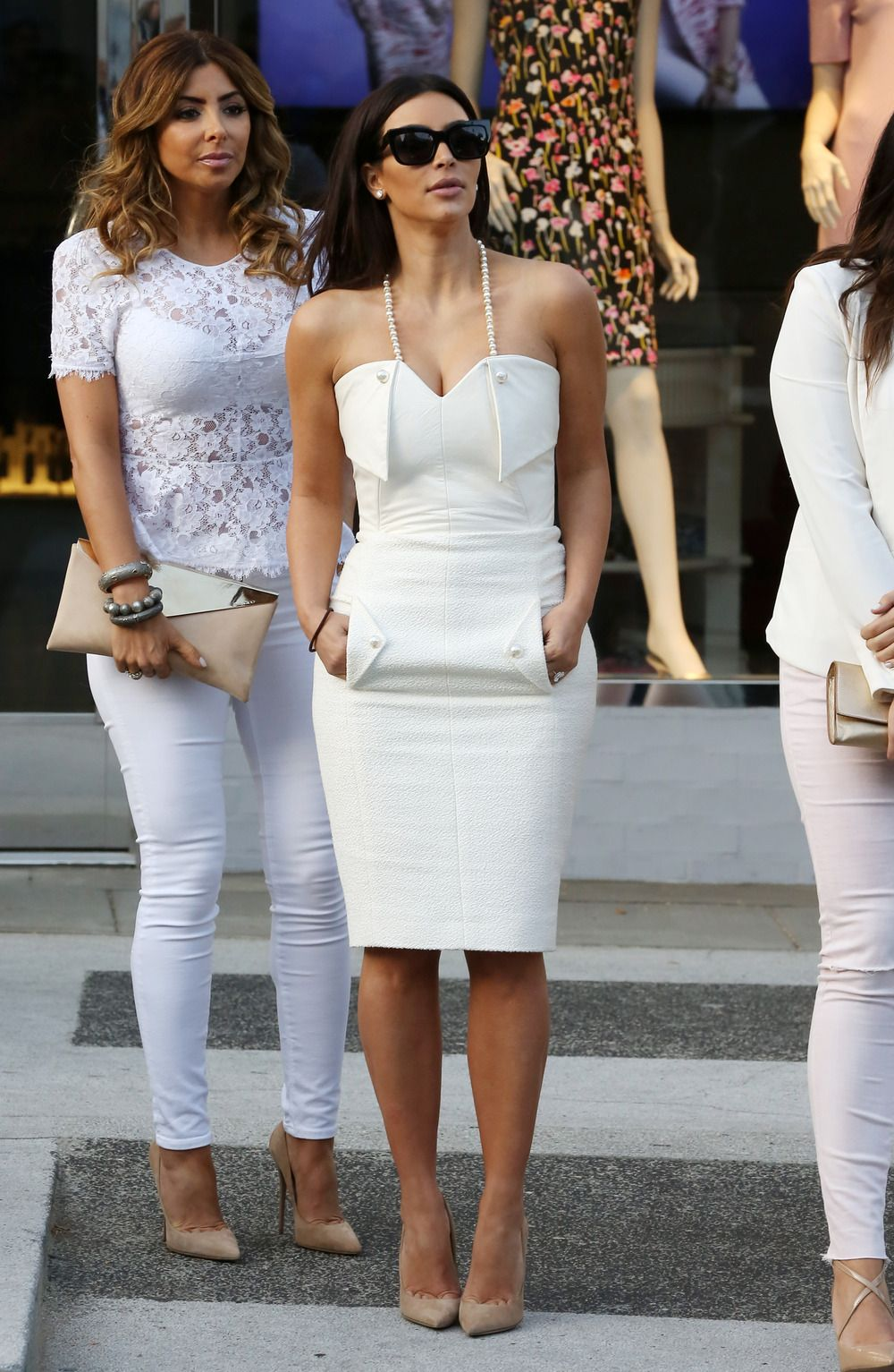 Kim Kardashian Goes Glam in White Dress With Pearls For Bridal ...