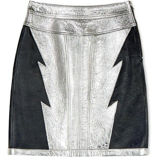 Diesel Black Gold Osilver Leather Skirt (6 800 UAH) ❤ liked on Polyvore featuring skirts, bottoms, silver, diesel black gold, panel skirt, white skirt, leather panel skirt and leather skirt