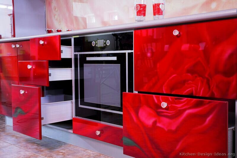 Exceptionnel Pictures Of Kitchens   Modern   Red Kitchen Cabinets (Kitchen