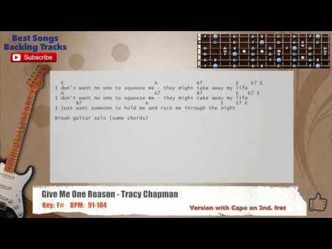 Give Me One Reason Tracy Chapman Guitar Backing Track With Chords