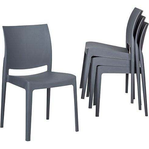 4x Maya Stackable Plastic Dining Chair In Dark Grey Buy New Arrivals Plastic Dining Chairs Dining Chairs Outdoor Dining Furniture