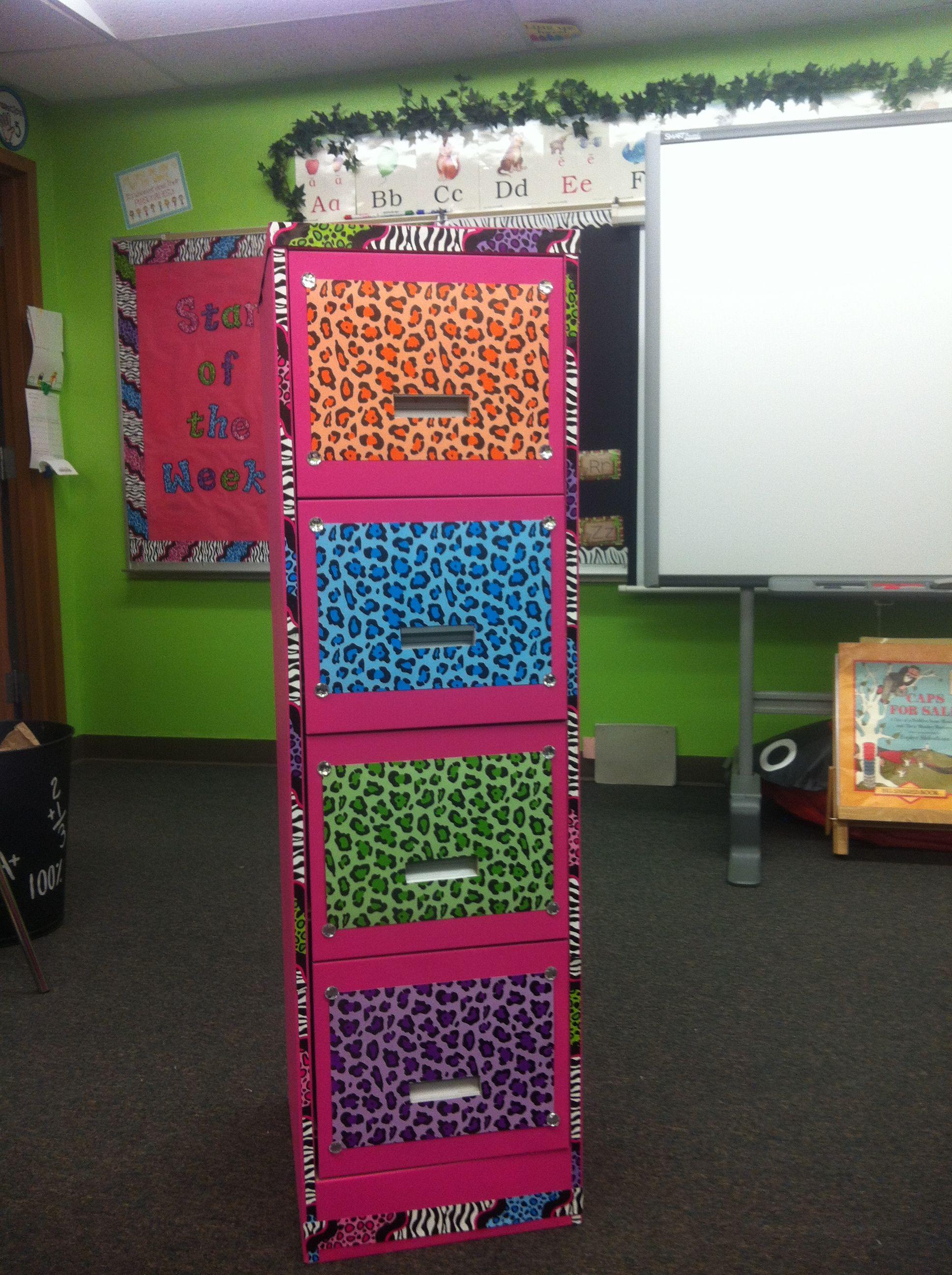 Classroom Decor Animals : My quot new animal print filing cabinet to match classroom