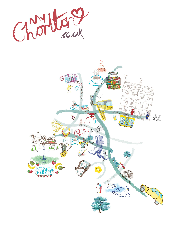 Chorlton Map illustration - samantha mabley | Lilfairtrade <3s ...
