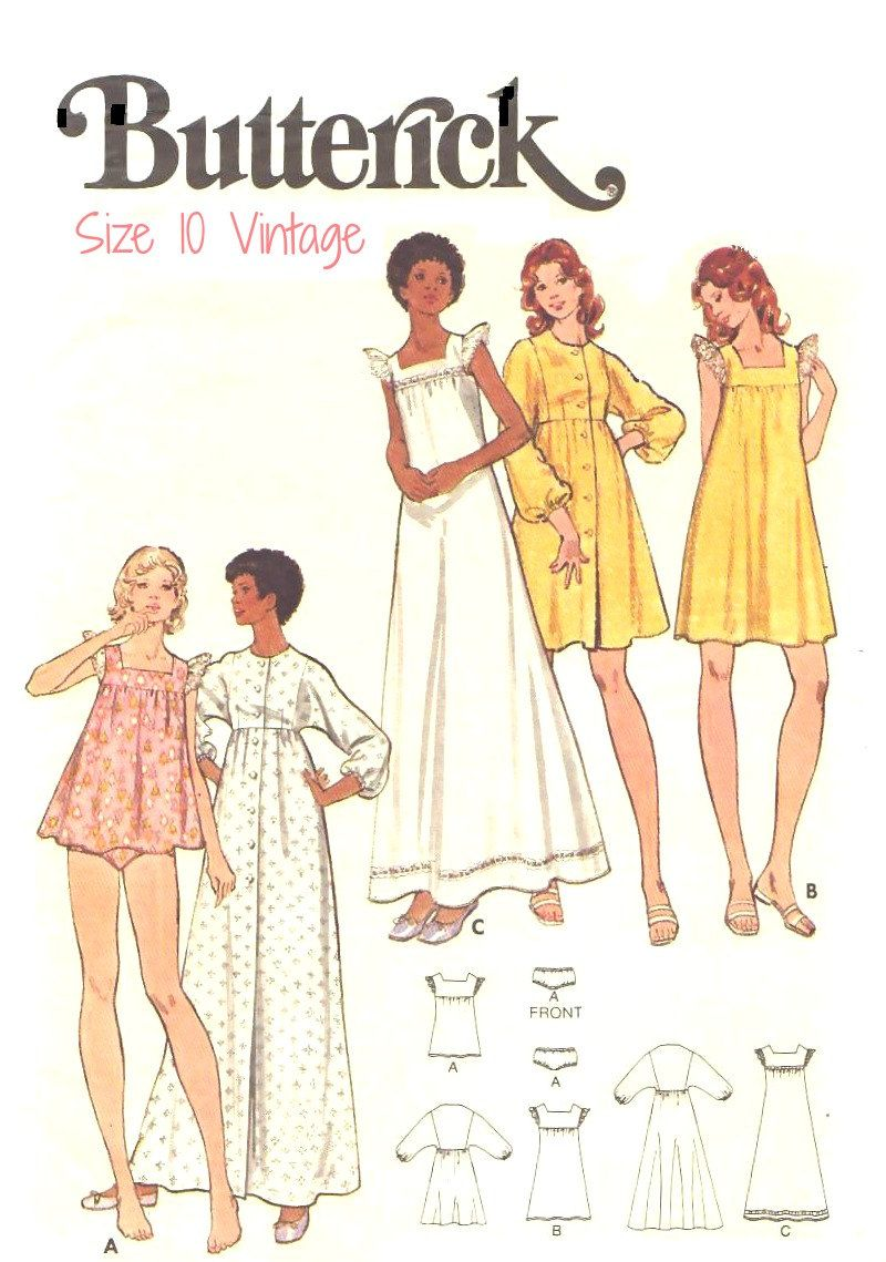 70s vintage nightgown babydoll robe sewing pattern butterick 70s vintage nightgown babydoll robe sewing pattern butterick 5744 size 10 long or short jeuxipadfo Gallery