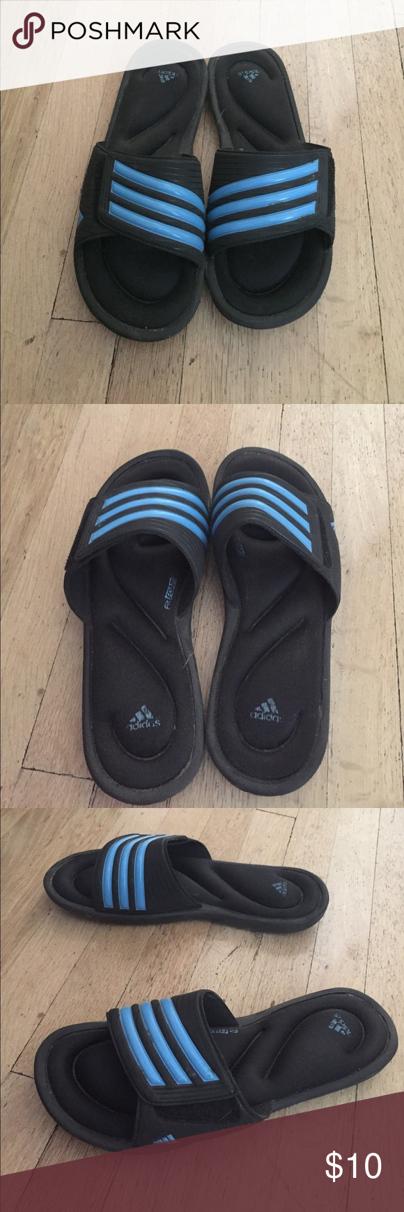 eecba76a8 Blue and black adidas slides Slightly used condition. Comfort cushion sole