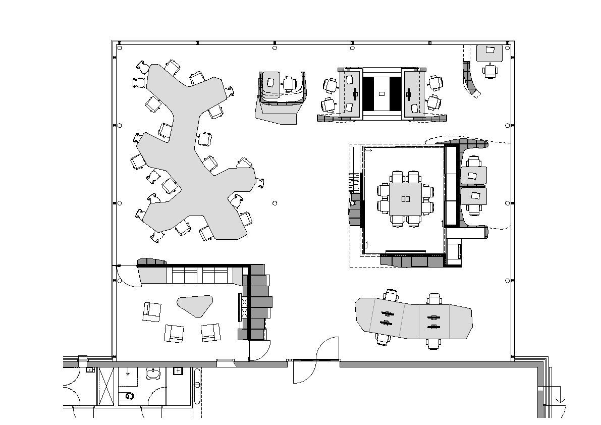 Ynno modern small office floor plan office interior for Office furniture layout planner
