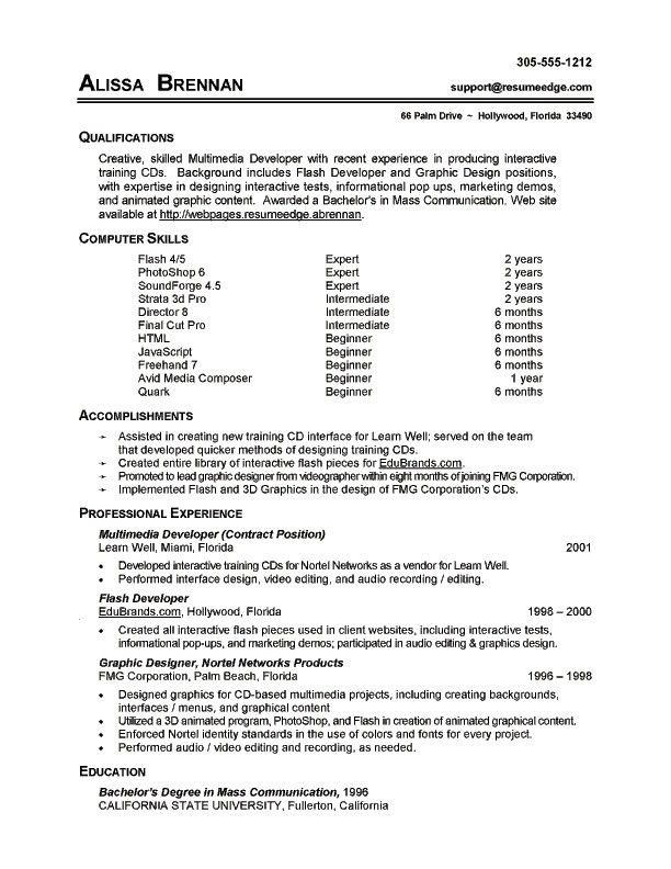 qualifications resume example