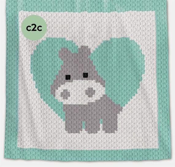 CROCHET Pattern - C2C Baby Blanket - Love Hippo - Crochet Chart ...