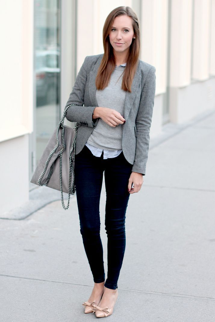e53a69a393e gray blazer and jeans with nude heeks stella mccartney gray bag collared  buttong down with sweater