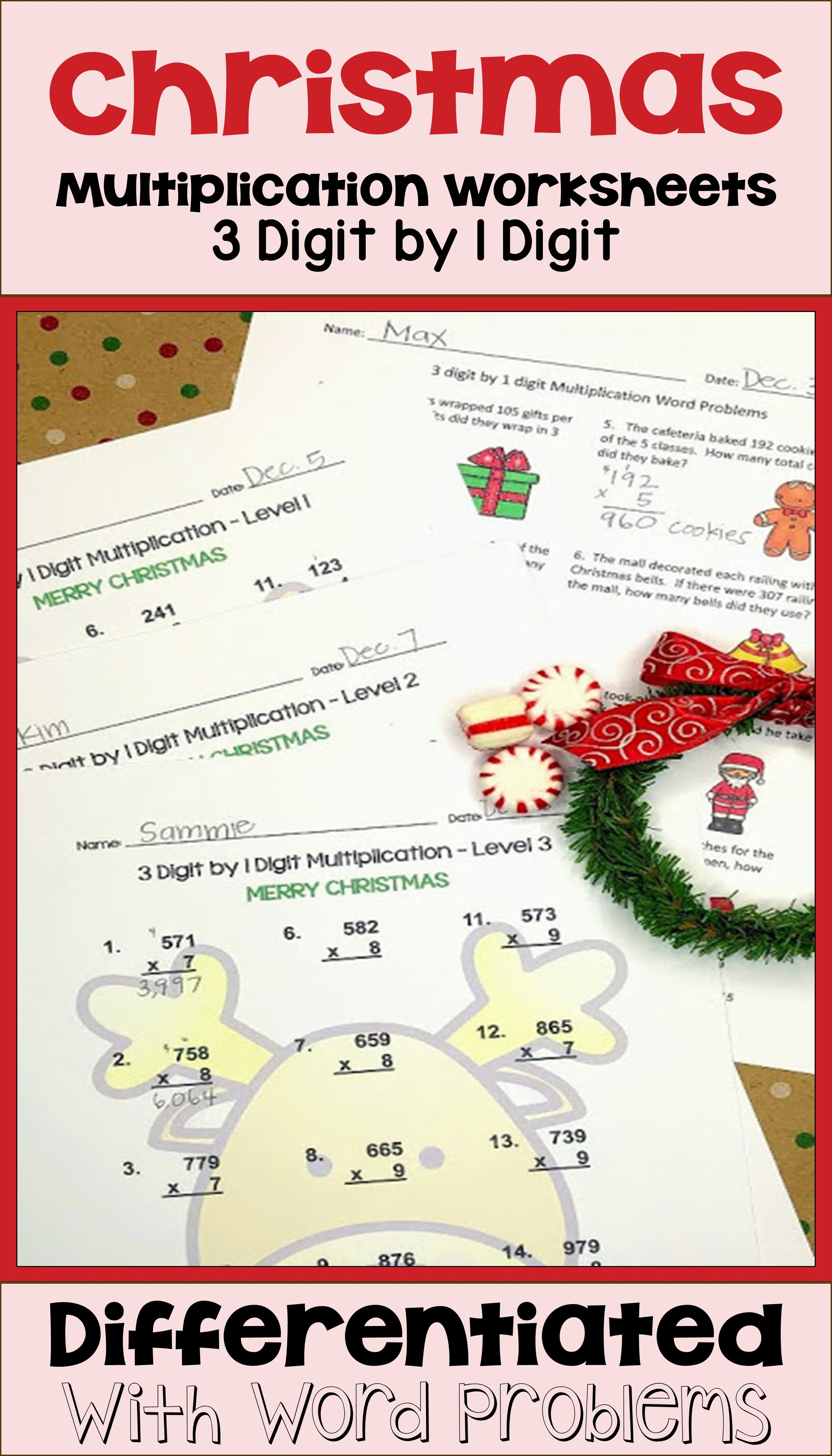 Christmas 3 Digit By 1 Digit Multiplication Worksheets