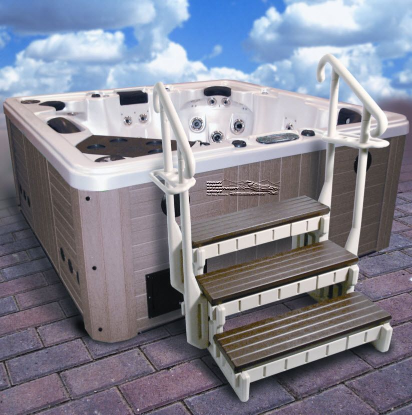 Best 3 Step Spa Step Hot Tub Step Swim Spa Steps W Handrails 400 x 300