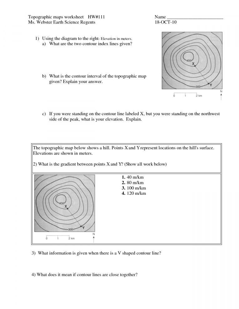 7 Earth Science Topographic Map Worksheet Science Printable Sheets Com Cartografia Topografia