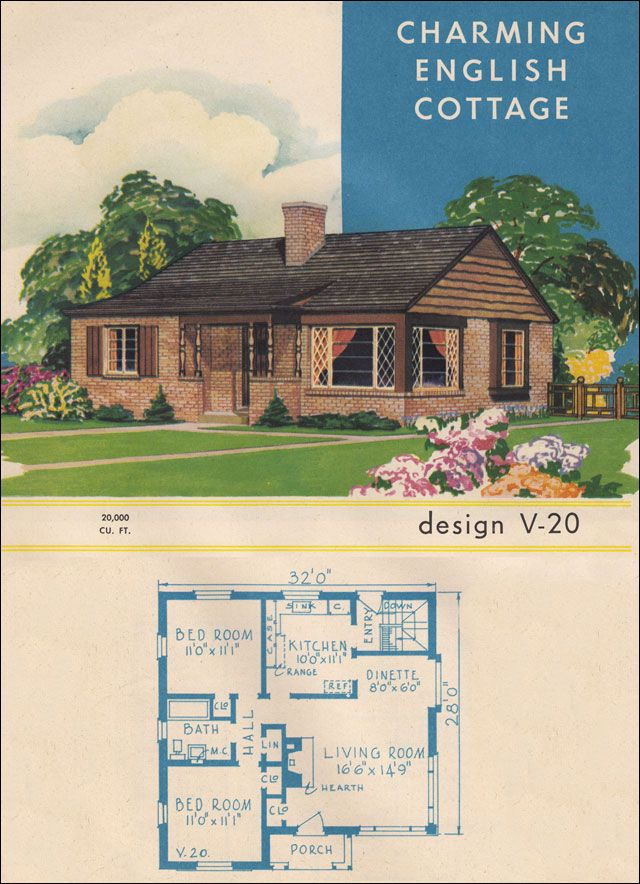 V 20 Charming English Cottage 1945 Style Trends By National Plan Service Vintage House Plans House Plans Brick House Exterior Makeover