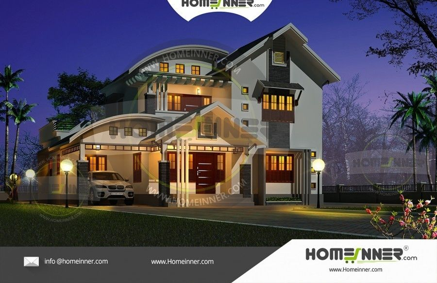 Fusion style bhk kerala home exterior also designs pinterest rh in