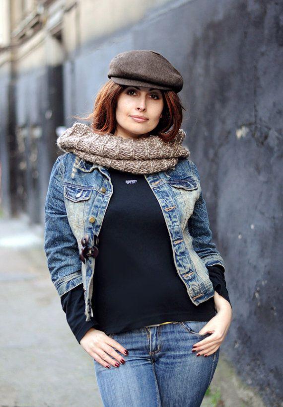 0fe2f02e43 Womens newsboy hat Brown tweed hat Men newsboy cap Wool hat Autumn ...