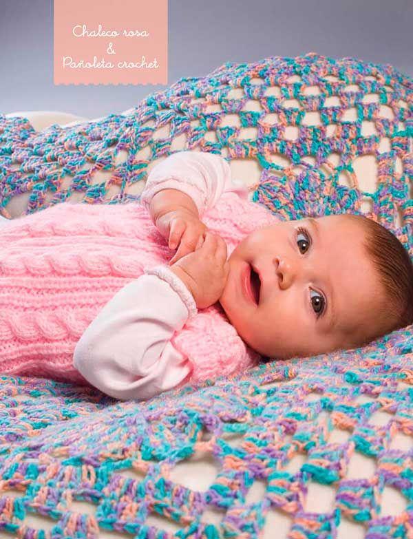 Cómo tejer chaleco de bebe dos agujas y pañoleta crochet tutorial ...