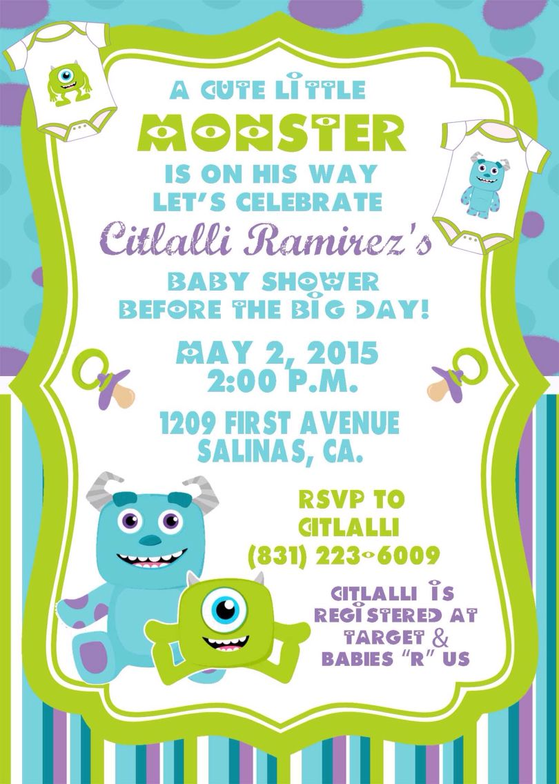 Monster inc baby shower invitations by sonalas posh paper | baby ...