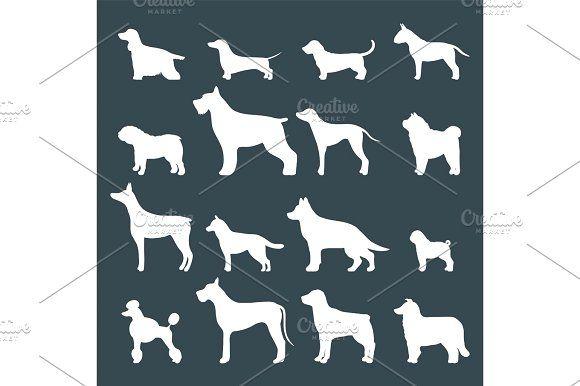 Funny cartoon dog character bread white silhouette in cartoon style vector illustration. by Vectorstockersland on @creativemarket