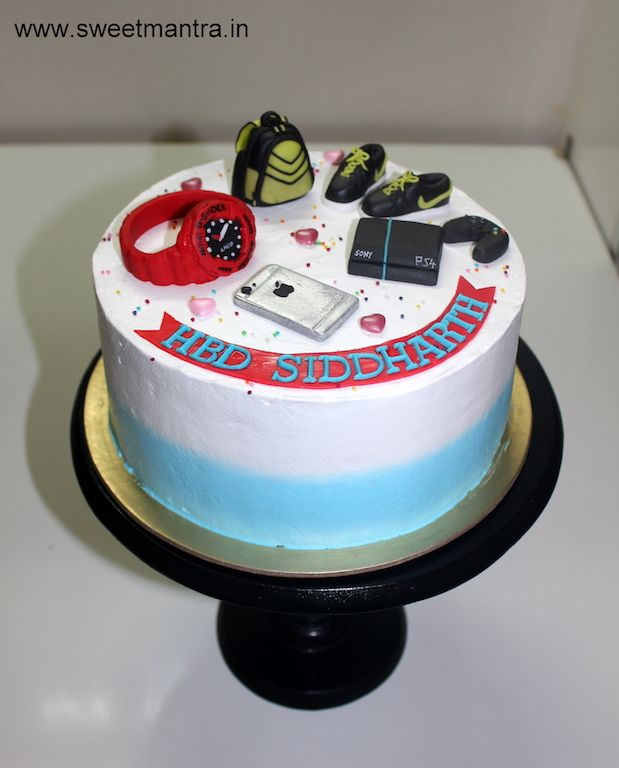 Fondant Cake Design For Husband : Small fresh cream designer birthday cake with iPhone, PS4 ...