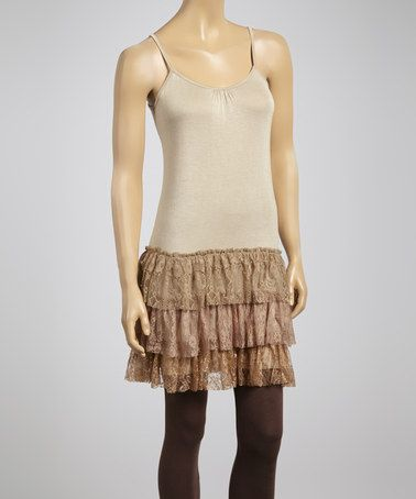 a1b8dbcd4873a Taupe & Brown Lace Strapless Tunic by Lady Noiz #zulily #zulilyfinds works  great for a shirt extender