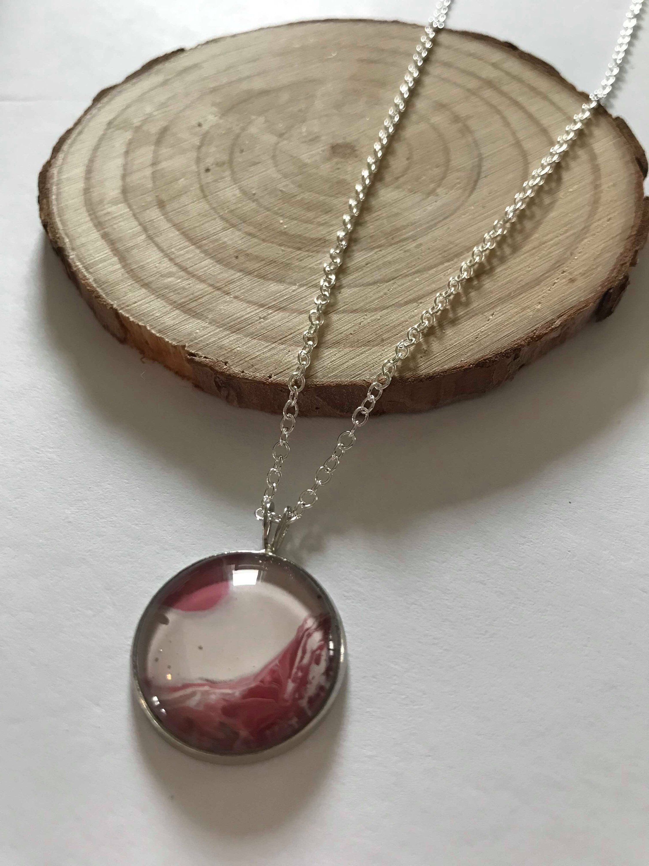 bijoux argent pendantif rond rouge