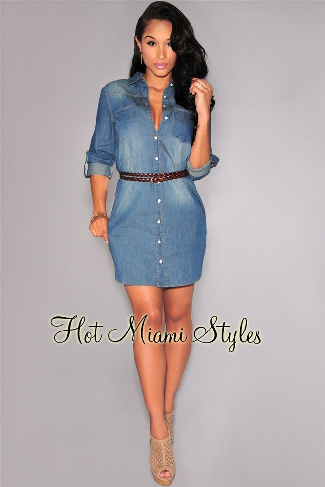 Denim Collared Button-Down Shirt Dress Womens clothing clothes hot miami  styles hotmiamistyles hotmiamistyles.com sexy club wear evening clubwear  cocktail ... 48900f51d51c