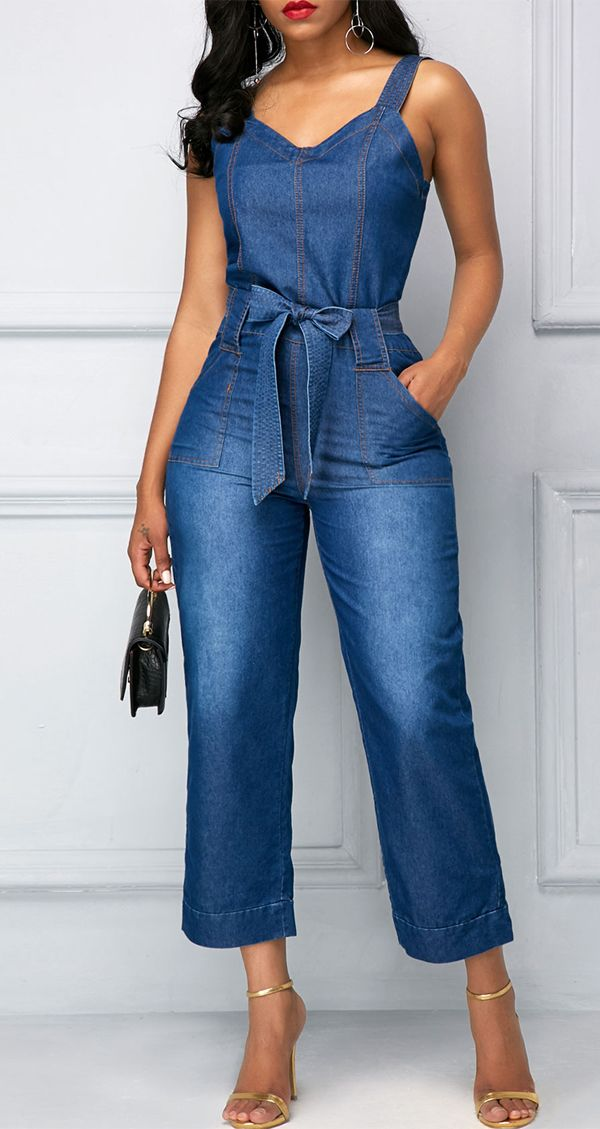 258c816b57f7 New-arrival Belted Open Back Blue Pocket Denim Jumpsuit