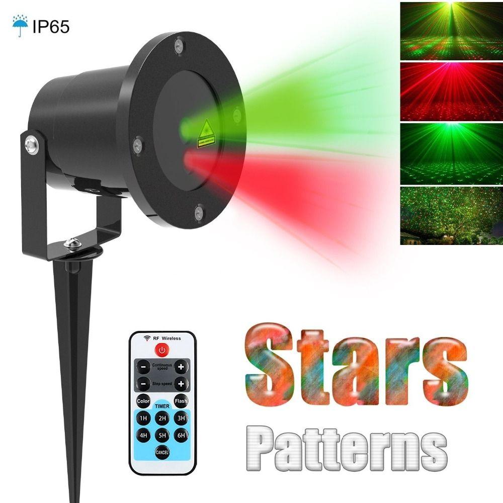 092f84ff76a Navidad Estrella láser proyector de Jardín Al Aire Libre IP65 Impermeable Control  Remoto IR Espectáculo de Luces Láser Verde Rojo RG Decoraciones