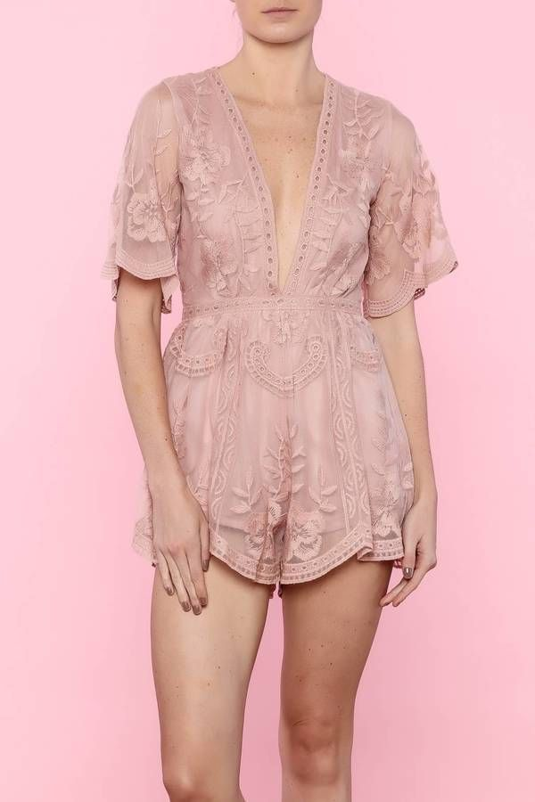30c00faa5d8f Honey Punch Lace Mesh Romper