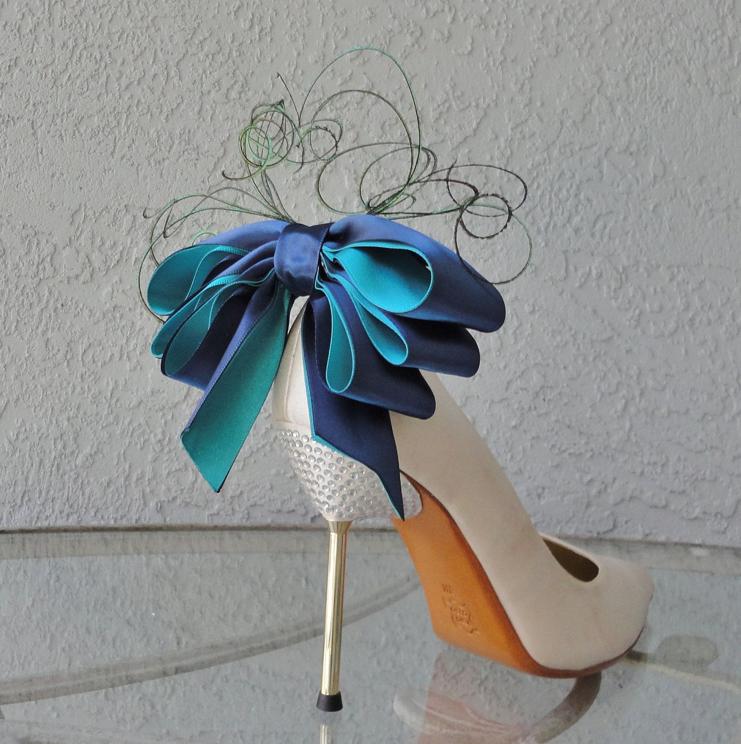 Bridal party wedding navy blue and teal peacock colors bow and