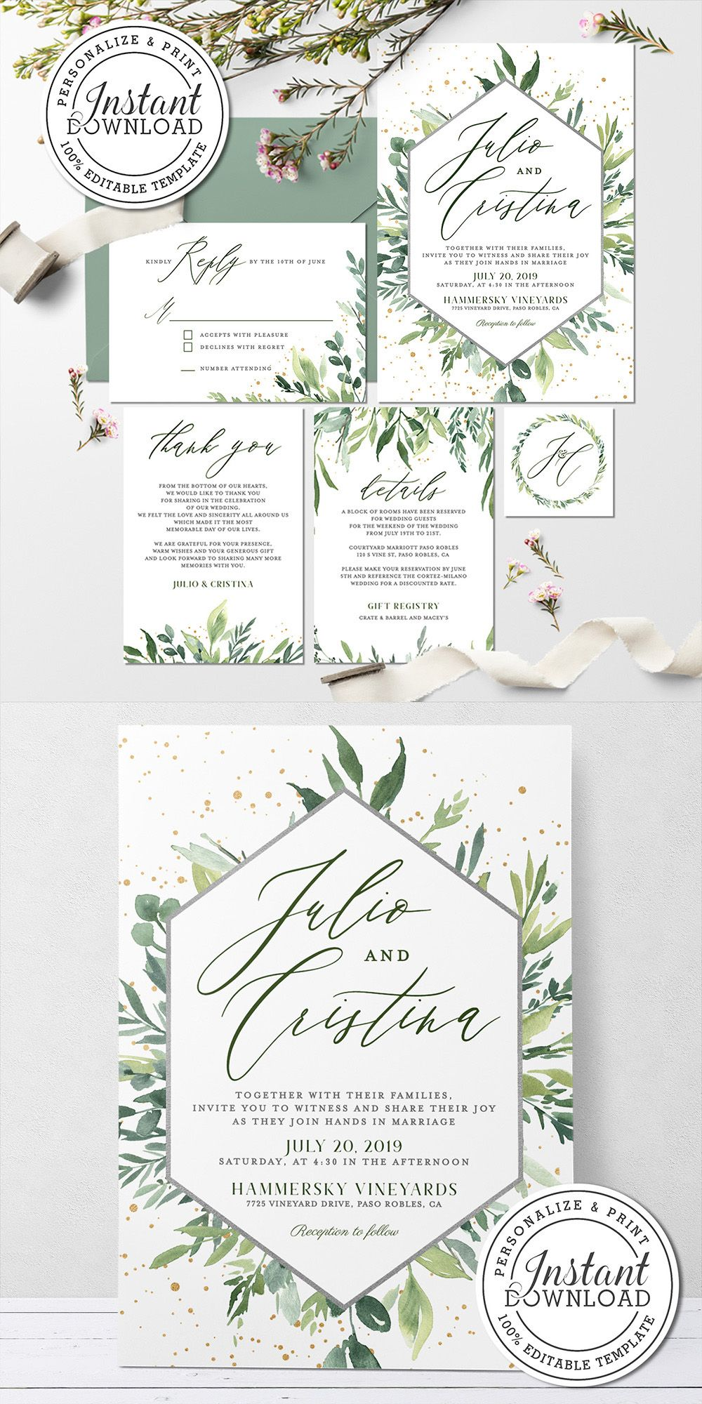 Edit On Your Browser Templates Watercolor Wedding Invitations