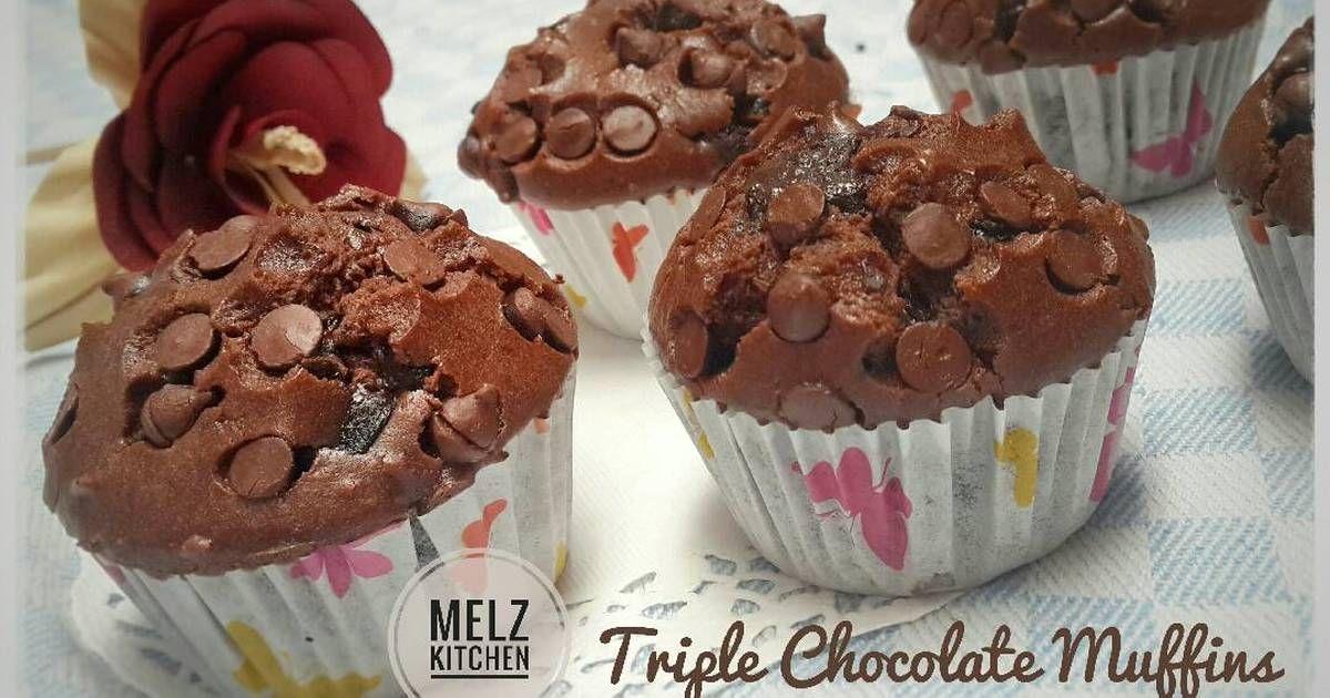 Resep Triple Chocolate Muffin Oleh Melz Kitchen Resep Kue Camilan Kue Lezat Makanan