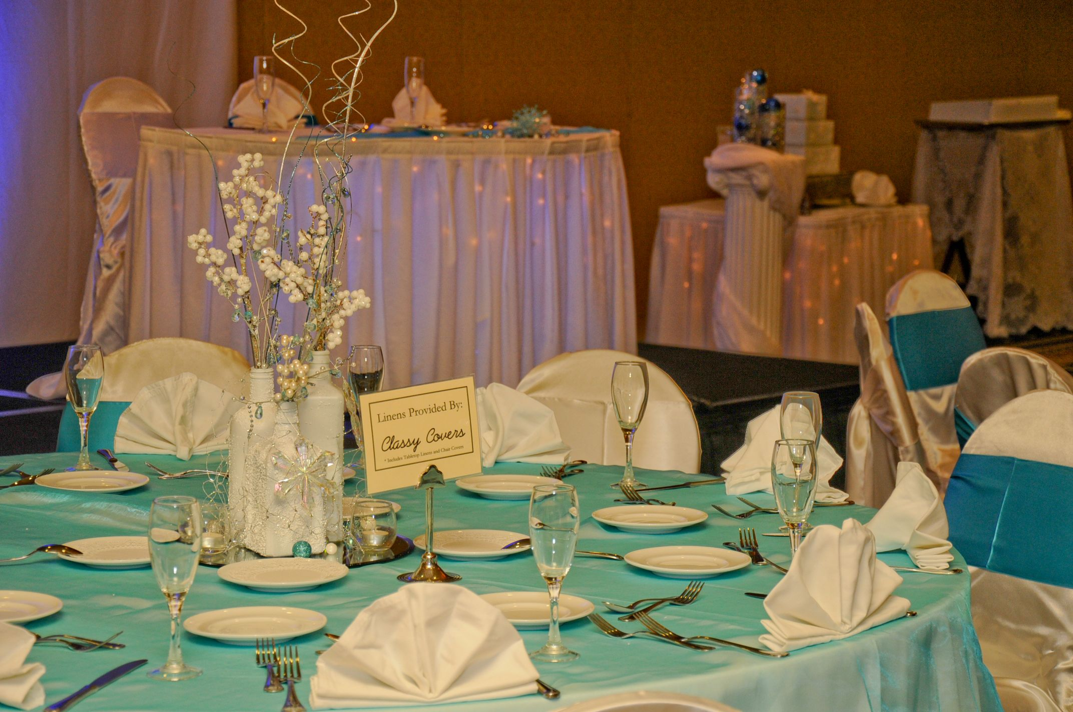 Beautiful table set by Classy Covers at the Wyndham Gettysburg.