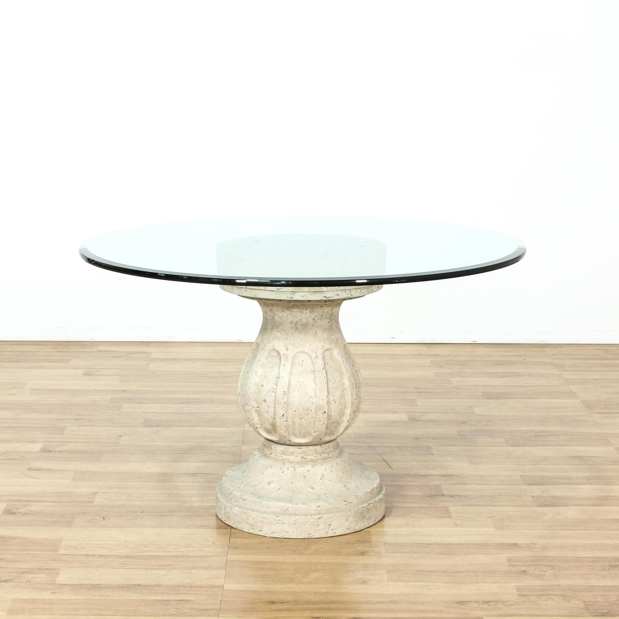 Round Glass Pedestal Dining Table round glass top table on composition pedestal base | round glass