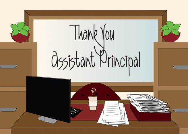 thank you to school assistant principal office desk with