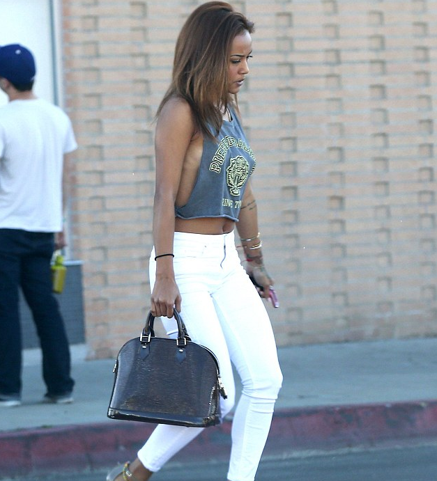 Opinuns Entertainment News | Celebrity GossipJust Nipping Out For Lunch: Chris Brown's Girlfriend Karrueche Tran Shows Some Side-Boob In A Slashed Vest | Opinuns Entertainment News
