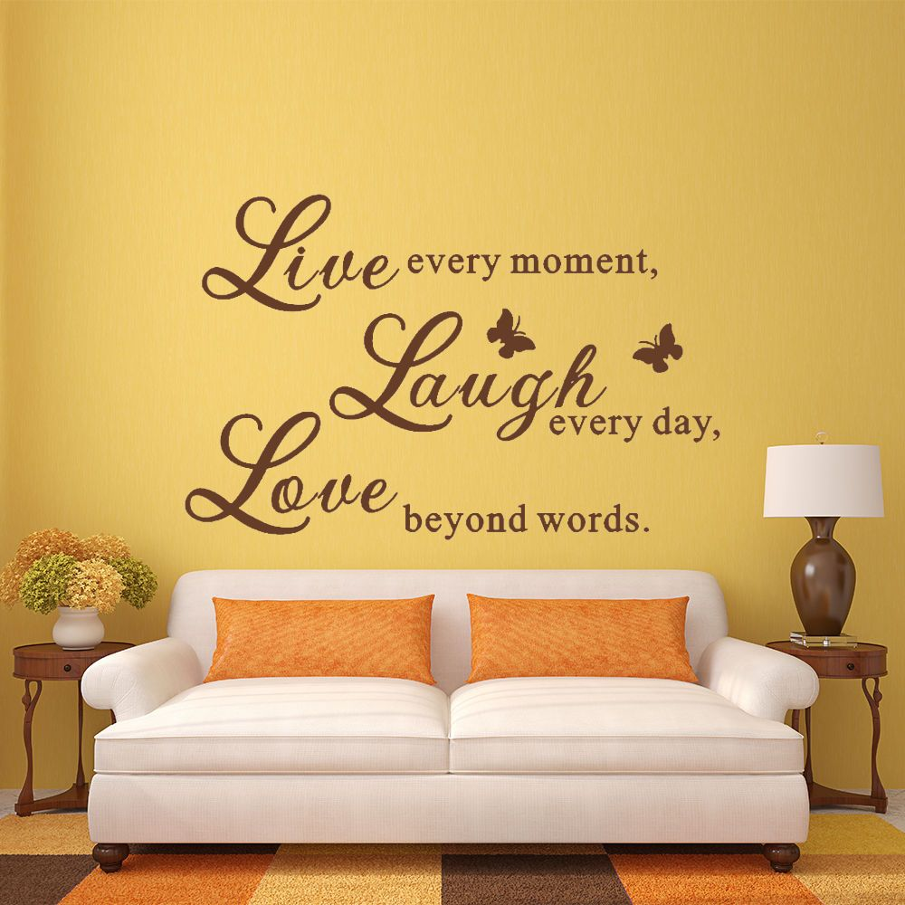 Live laugh love wall decal inspirational saying vinyl living room