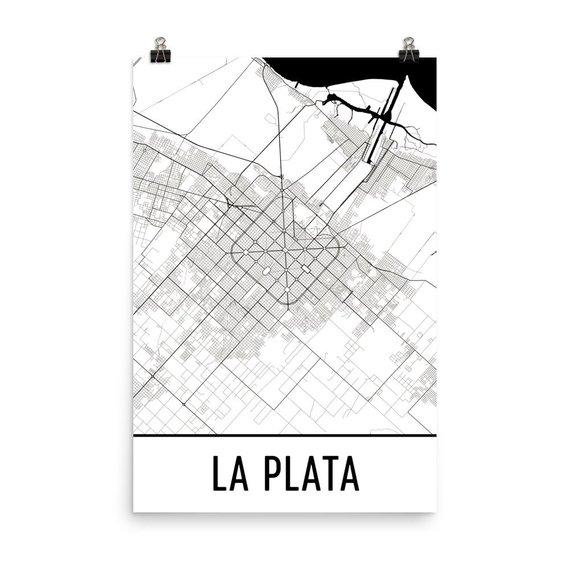 La Plata Map La Plata Art La Plata Print La Plata Argentina Etsy Plata Mapa De Argentina Mapa Ciudad