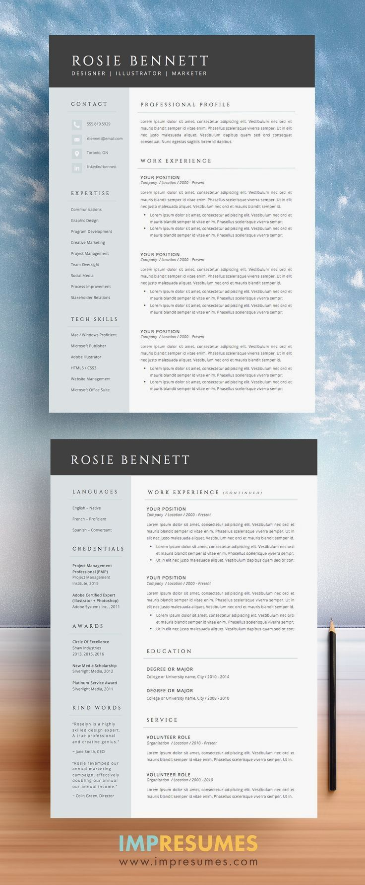 4Page Resume Template Package For Word  The 'Rosie' - Resume design professional, Resume design template, Resume template, Resume layout, Resume design, Cover letter for resume - Download this gorgeous, easily editable resume template package for Microsoft™ Word it's time to apply for that dream job!
